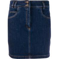 Moschino Saia Jeans Com Abotoamento Duplo - Azul