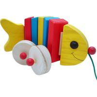 Peixe Articulado De Puxar Kits E Gifts Em Madeira Multicolorido - Amarelo - Dafiti