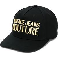 Versace Jeans Couture Boné De Algodão Com Logo Bordado - Preto