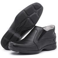 Sapato Social Confort Em Couro Preto