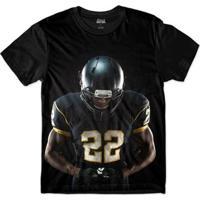 Camiseta Attack Life Futebol Americano 22 Sublimada Masculina - Masculino-Preto
