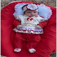 Kit Saída Maternidade 4 Peças Cecília Vermelha