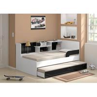 Bicama Com Estante 0740 Branco Brilho/Preto Brilho Multimóveis