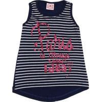 Blusa Regata Infantil Para Menina - Azul Marinho
