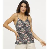 Blusa Floral Com Botãµes - Preta & Rosa - Estilo Hestilo H