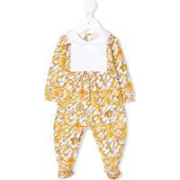 Young Versace Pijama Bicolor Com Estampa Barroca - Amarelo