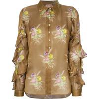 Nº21 Blusa De Seda Floral - Marrom
