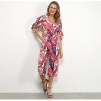 Macacão Lily Fashion Folhagem Feminino - Feminino-Branco+Rosa