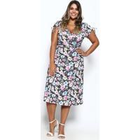 Vestido Floral Com Transpasse- Preto & Rosa- Mirasulmirasul