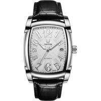 Relógio Tevise 9013 Masculino Automático Pulseira De Couro Preto - Branco