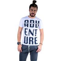 Camiseta Mister Fish Estampado Adventure Masculina - Masculino-Branco