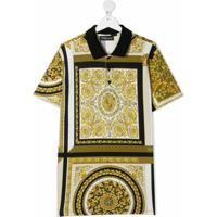 Versace Kids Camisa Polo Com Estampa Barroca - Branco