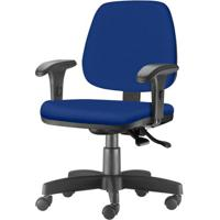Cadeira Job Com Bracos Curvados Assento Crepe Azul Base Rodizio Metalico Preto - 54623 - Sun House