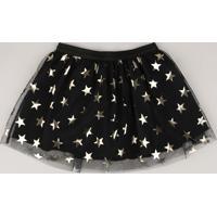 Saia Infantil Halloween Em Tule Estampada De Estrelas Preta