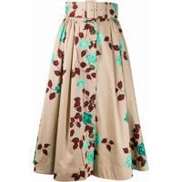 Msgm Floral Print Belted Midi Skirt - Neutro