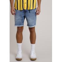 Bermuda Jeans Masculina Reta Com Rasgos E Corrente Azul Médio