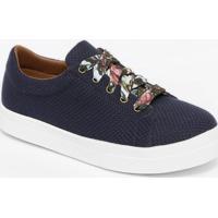 Tãªnis Flatform Texturizado & Floral- Azul Marinho & Rosaferrucci
