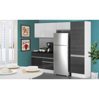 Cozinha Modulada Completa 4 Módulos Com Balcão 100% Mdf Branco/Ébano - Glamy