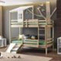 Beliche Infantil Teen Play C/Telhado Ii E Mini Escada/Escorregador Natural - Casatema