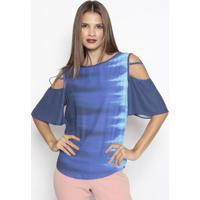 Blusa Com Vazados & Tiras - Azul & Azul Marinho - Momorena Rosa