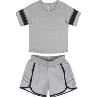Conjunto Infantil Blusa E Short Cinza
