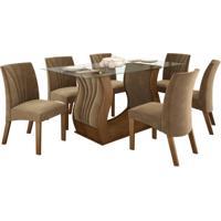 Conjunto De Mesa 1.70M Com 6 Cadeiras Fortuna Castanho Tecido Veludo Pena Caramelo Lj Móveis