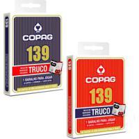 Kit Com 2 Jogo De Cartas - 139 Truco - Vermelho E Azul - Copag