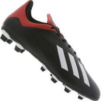 Chuteira De Campo Adidas X 18.4 Fg - Adulto - Preto Vermelho 6a412794f6f0f