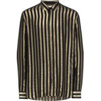 Saint Laurent Camisa Com Estampa Listrada - Preto