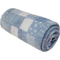 Cobertor Patchwork Em Microfibra- Azul Claro & Branco