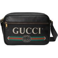 Gucci Bolsa Carteiro De Couro Com Logo - Preto