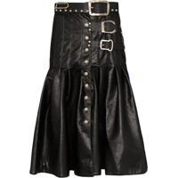 Chopova Lowena Two-Tone Kilt Skirt - Preto