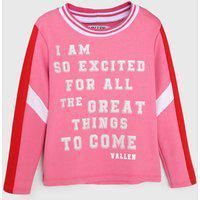 Blusa De Moletom Vallen Infantil Great Things Rosa/Branca
