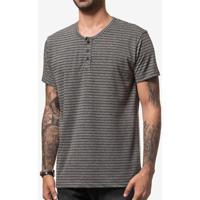 Camiseta Botões Listrada Cinza 104077