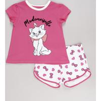 Pijama Infantil Marie Manga Curta Rosa Escuro