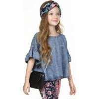 Bata Jeans Infantil Menina Cropped Mangas Curtas Flare Puc