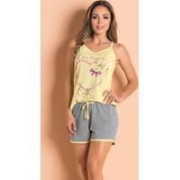 Pijama Curto Com Blusa De Alças Amarelo/Mescla
