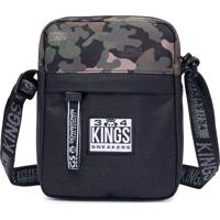 Bolsa Transvesal Kings Sneakers Tecido Camuflado Shoulder Bag Preto Estampado