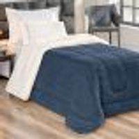 Cobertor Coberdrom Sherpa Solteiro Azul Marinho Dupla Face 2,40M X 1,70M Tecido Pele De Carneiro