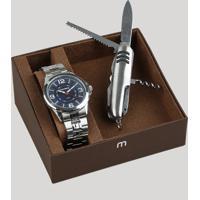 Kit De Relógio Analógico Mondaine Masculino + Canivete - 83419G0Mvne2K Prateado - Único