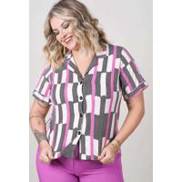 Blusa Estampada Almaria Plus Size New Umbi Gola Bl