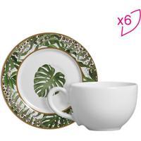Conjunto De Xícaras De Chá Costela De Adão- Branco & Verscalla Cerâmica