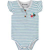 Body Listrado Com Bordado- Cinza Claro & Azul- Baby