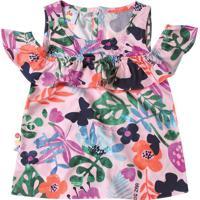 Blusa Floral Com Recortes Vazados - Rosa Claro & Verde