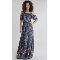 Vestido Longo Open Shoulder Estampado Floral Azul Escuro