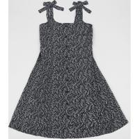 Vestido Juvenil Estampada Floral Alças Médias Com Laço Preto