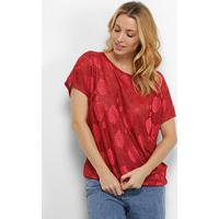 Blusa Pérola Rosas Feminina - Feminino-Vermelho