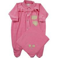 Jogo Saída Maternidade Ano Zero Bebê 2 Ursinhas Rosa Escuro