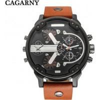 Relógio Cagarny 6820 Masculino Pulseira De Couro - Marrom