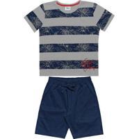 Conjunto Camiseta Bermuda Infantil Cinza